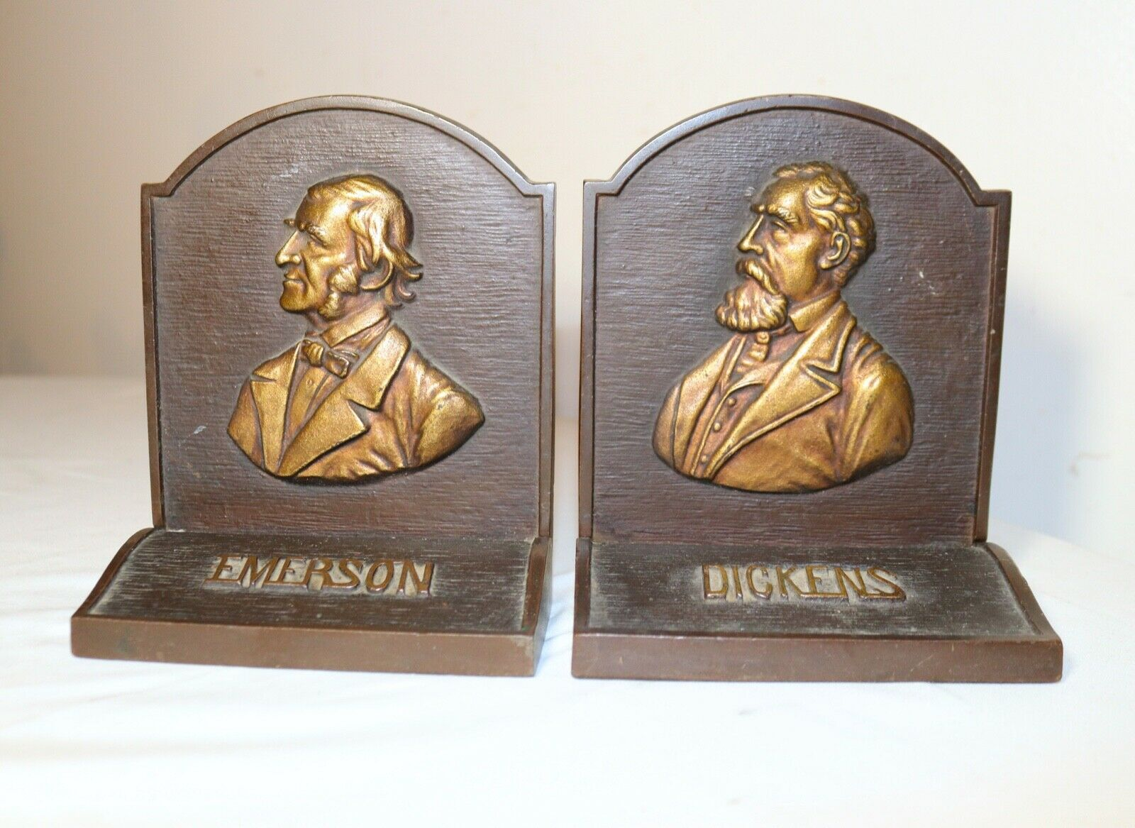 Pair of antique solid heavy figural bronzed cast iron Dickens Emerson bookends