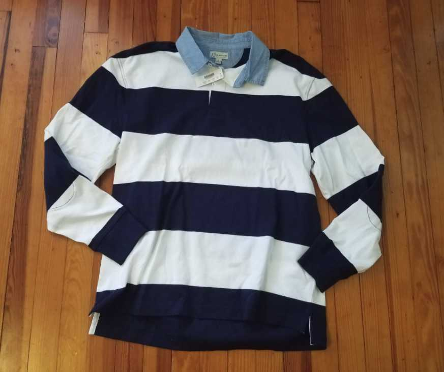 NEW MEN'S  S M L XL J CREW RUGBY LONGSLEEVE POLO SHIRT IN blueE AND WHITE STRIPE