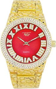 Iced Men Gold Watch Bling Rapper Simulate Diamond Nugget Band Hip Luxury RED