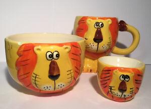 Carino-Leone-in-Ceramica-dipinto-Children-039-s-BREAKFAST-SET-TAZZA-Ciotola-Portauovo