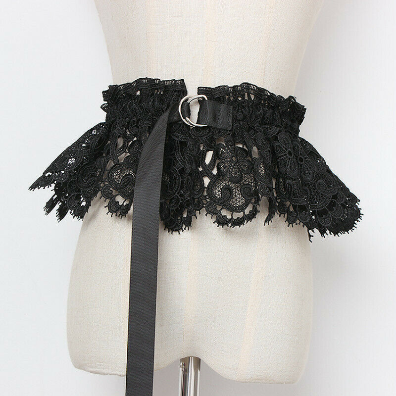 Lace Belt Waistband Obi Ruffle Frilly Wide Elastic Embroidered Hollow Out Retro