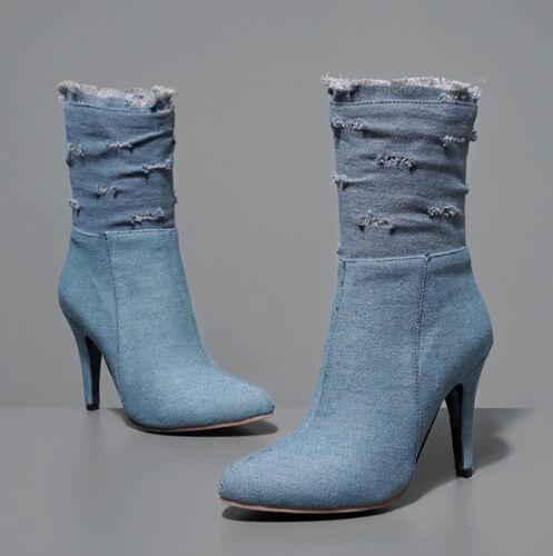 Kurzer Stiefeletten Damen Denim Ankle Boot Hoch Absatz Schuhe Pumps Plus Size 52