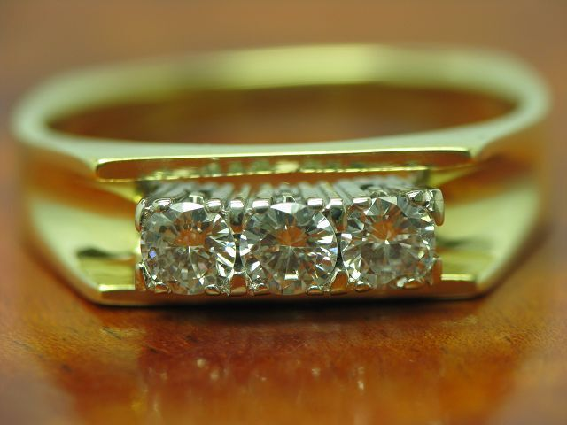 14kt 585 BICOLOR gold RING MIT 0,51ct BRILLANT BESATZ   DIAMANT   4,7g   RG 55