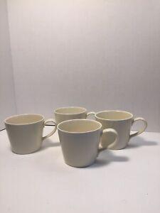 Crate & Barrel Set Of 4 Off White Beige Coffee Mug Cups by B. Ergen 9oz Each