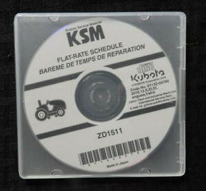 GENUINE KUBOTA ZD1511 LAWN TRACTOR FLAT RATE SCHEDULE MANUAL CD