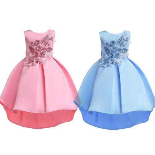 Kids Girls Flower Ball Gown Formal Wedding Bridesmaid Princess Pageant Dress Hot