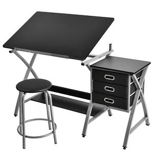 Excellent Details About Adjustable Drafting Table Drawing Desk Board Art Craft With Stool Drawers Download Free Architecture Designs Embacsunscenecom