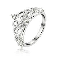 Princess Queen Crown Women Lady Silver Plated Ring Wedding Crystal Sterling Ring