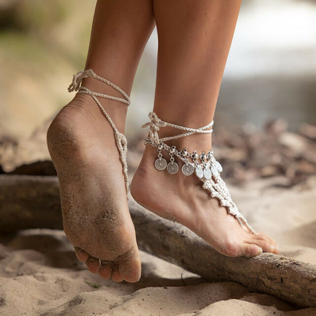 Antique Silver Bohemian Boho Turkish Coin Anklet Ankle Bracelet Barefoot Sandal