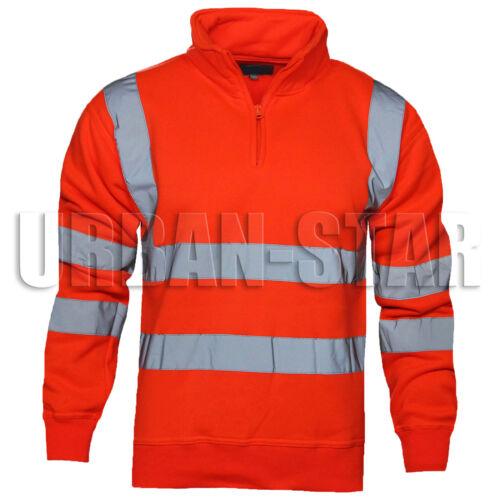 Hi Viz Vis High Visibility Hoodie Sweatshirt Two Tone Hoody Pullover Fleece Top
