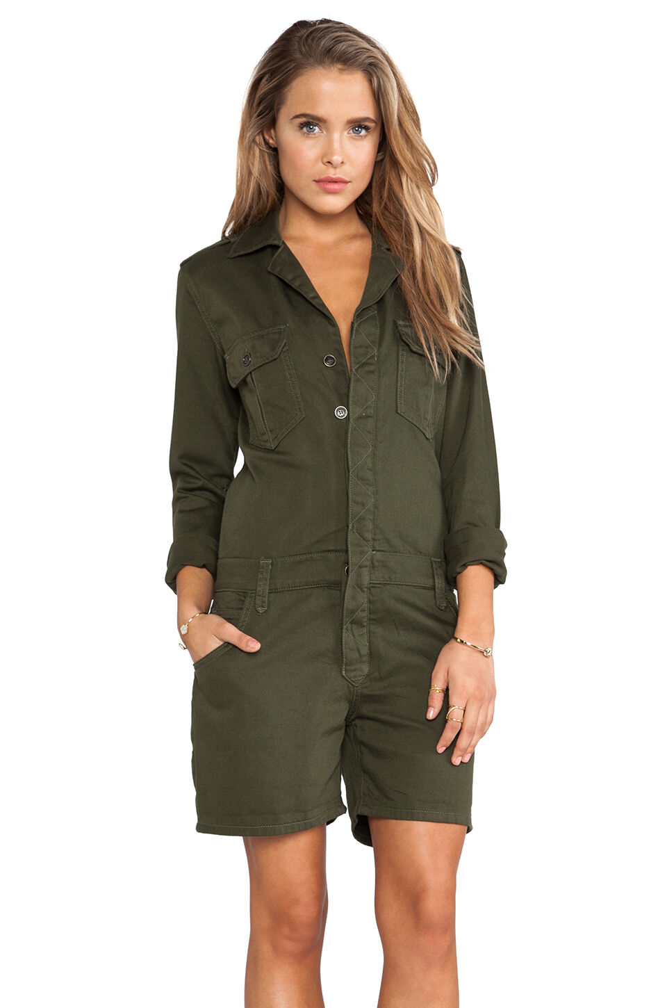NWT JOE'S JEANS SzS MILITARY SHIRTTAIL LONG SLEEVE COTTON ROMPER OLIVE GREEN 198