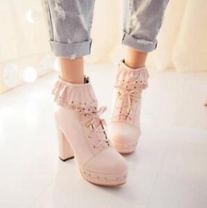 Women-039-s-Lolita-Platform-Lace-Up-Zip-Block-High-Heels-Ankle-Boots-Shoes