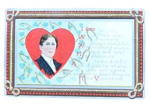 Antique-1911-Victorian-Color-Litho-Gentleman-Valentine-039-s-Day-Signed-Postcard
