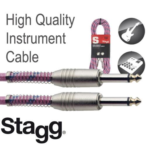 20/' Vintage Tweed Pink Cloth Covered Guitar Amp Cable Cord Stagg SGC6VTPK 2 PACK