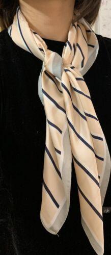Big Square Womans Faux Silk Stripes Head Neck Thin Scarf Lightweight Neck Warmer