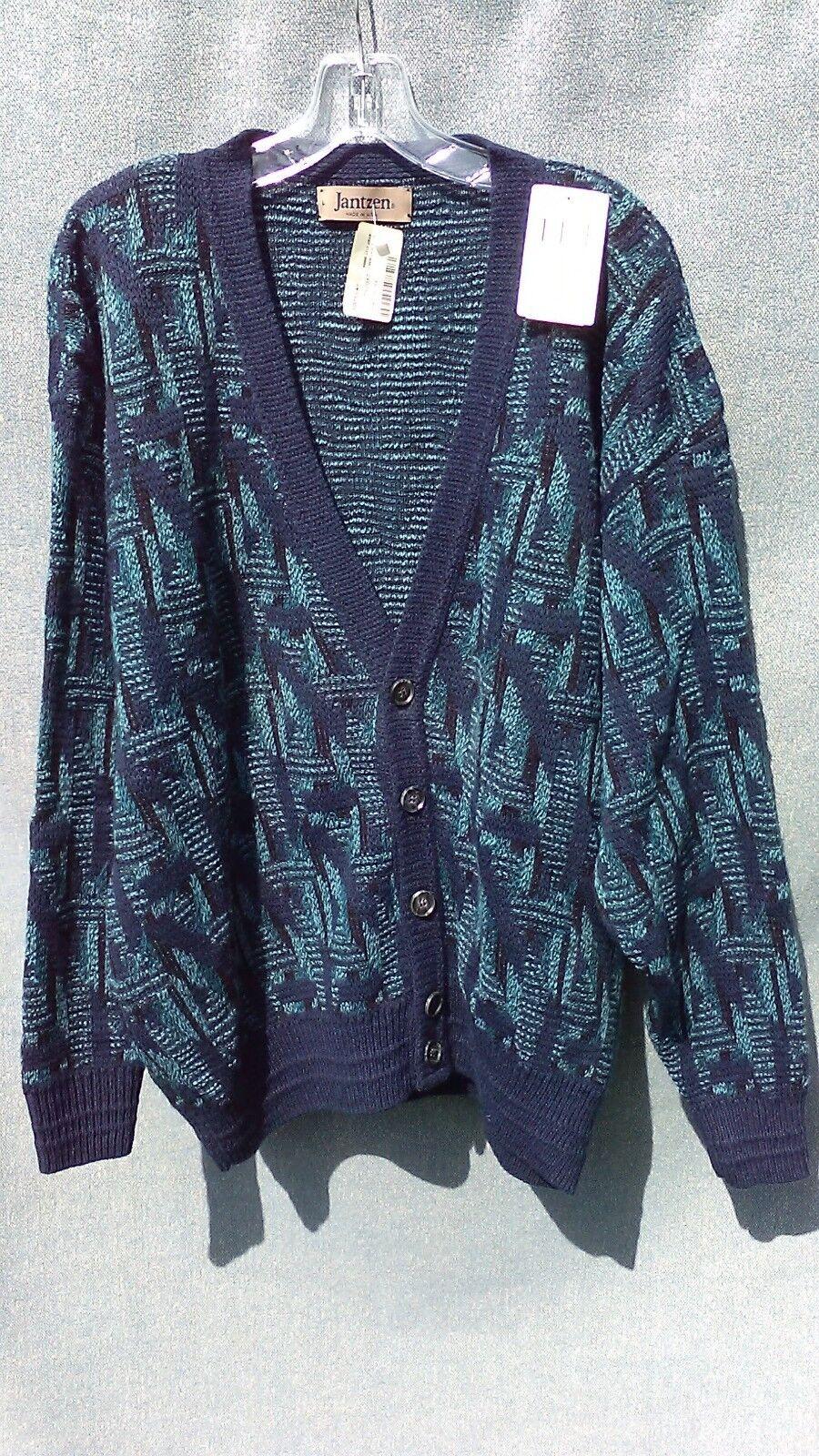 NWT VTG Jantzen  Herren Cardigan Sweater USA Größe L Blau Grün Geometric Button up