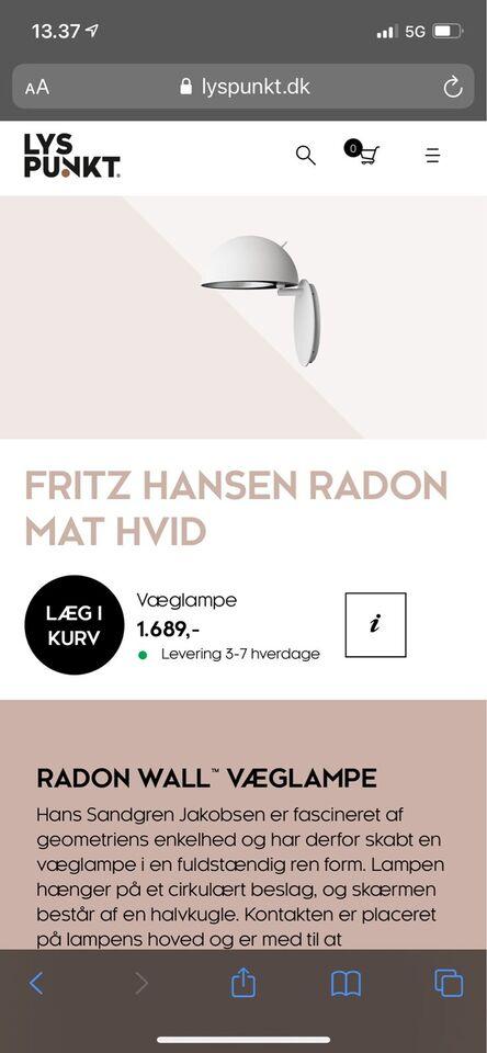 Anden arkitekt, Fritz Hansen Radon , væglampe
