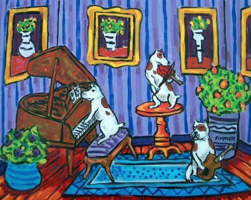 PIT BULL terrier art PRINT abstract folk art JSCHMETZ american FOLK pop art jazz