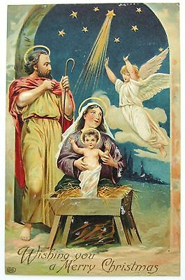 EAS Christmas HOLY FAMILY Beautiful Nativity Postcard EMB Angel Star