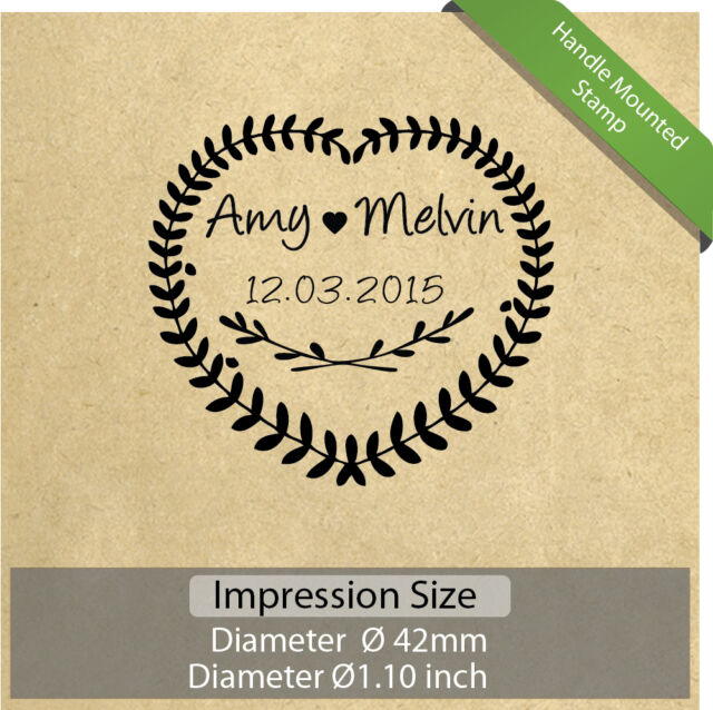 Personalized Custom Made Name Wedding Love Handle Mounted Rubber Stamp R533