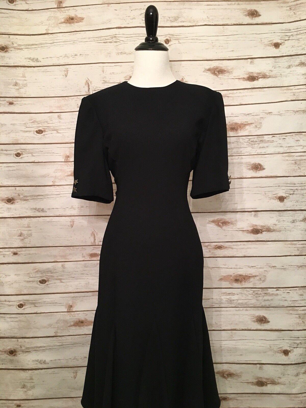 Liz Claiborne Woherren schwarz with Button Embellish Side Dress SZ 10 (d