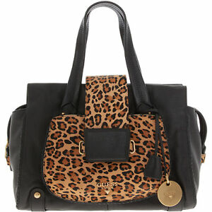 Image Is Loading Guess Luxe Blackleopard Print Emalia Grab Bag Genuine