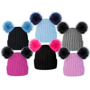 Girls SKI BEANIE HAT with POM POM Mickey Bobble PINK BABY BLUE BLACK ... f822df7f90e
