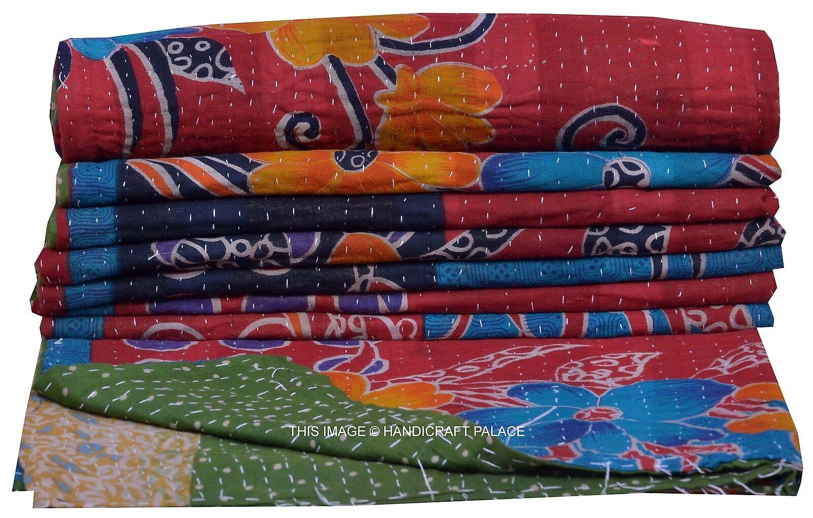 Indian Vintage Kantha Patchwork Quilt Reversible Gudari Cotton Ralli Blanket