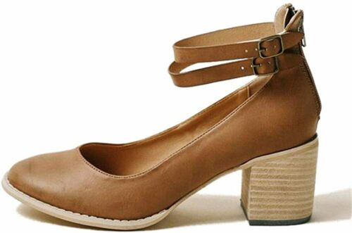Details about  /FISACE Womens Retro Round Toe Double Strap Mary Jane Mid Heel Party Dressy Pump