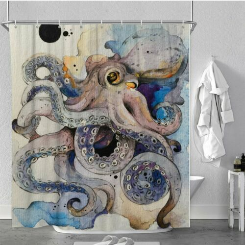 Scary Octopus Waterproof Polyester Bathroom Shower Curtain With Free 12 Hooks