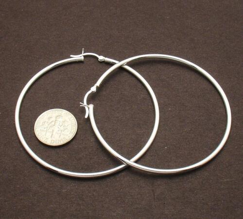 "2mm X 60mm 2 3//8/"" Large Plain Polished Hoop Earrings Real 925 Sterling Silver"