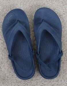 ffb45bafee68 CROCS iconic comfort blue thong flip flops with elastic back strap ...