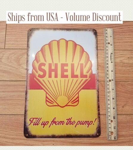 Shell Motor Oil Sign Shell Gas Station Sign Shell Tin Sign Shell Tin Lube Sign