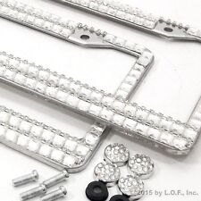 2 Large Gem Crystal Bling Silver Clear License Plate Frame Car Truck Auto Metal