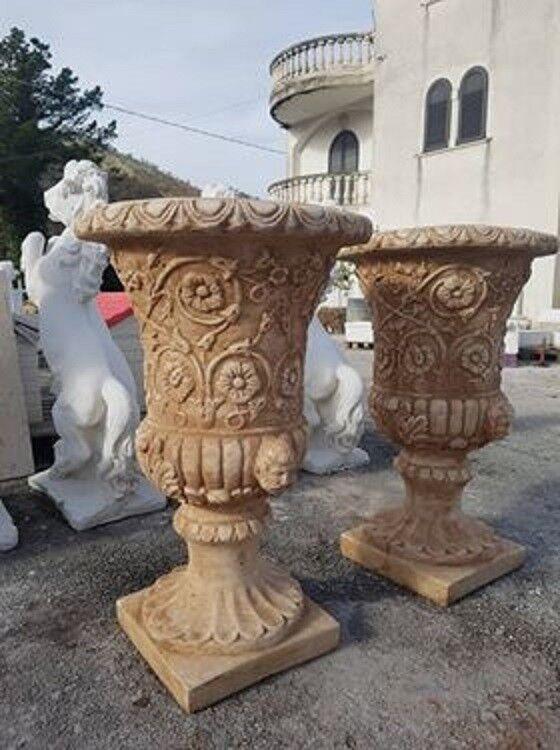 alta qualità e spedizione veloce Coppia di vasi vaso vaso vaso calice da giardino per piante in cemento marmo e pietra h80  Prezzo al piano