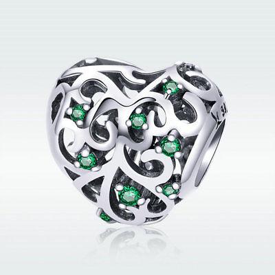 Coconut Tree 925 Sterling Silver Charm Green CZ Pendant Fit Bracelet Snake Chain