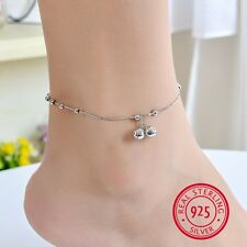 Genuine 925 Sterling Silver Double Bells Charm Pendant Beads Chain Beach Anklet