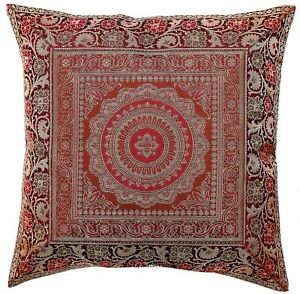 Image Is Loading Indian Mandala Brown Cushion Pillow Cover Brocade Sofa