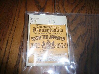 1948 1949 Pennsylvania Inspection Sticker Pa Penna Nov to April 2 for 1