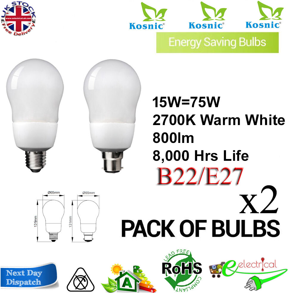 Kosnic Low EnergyDecor GLS 15W BC ES B22 E27 CFL Lamp Warm White