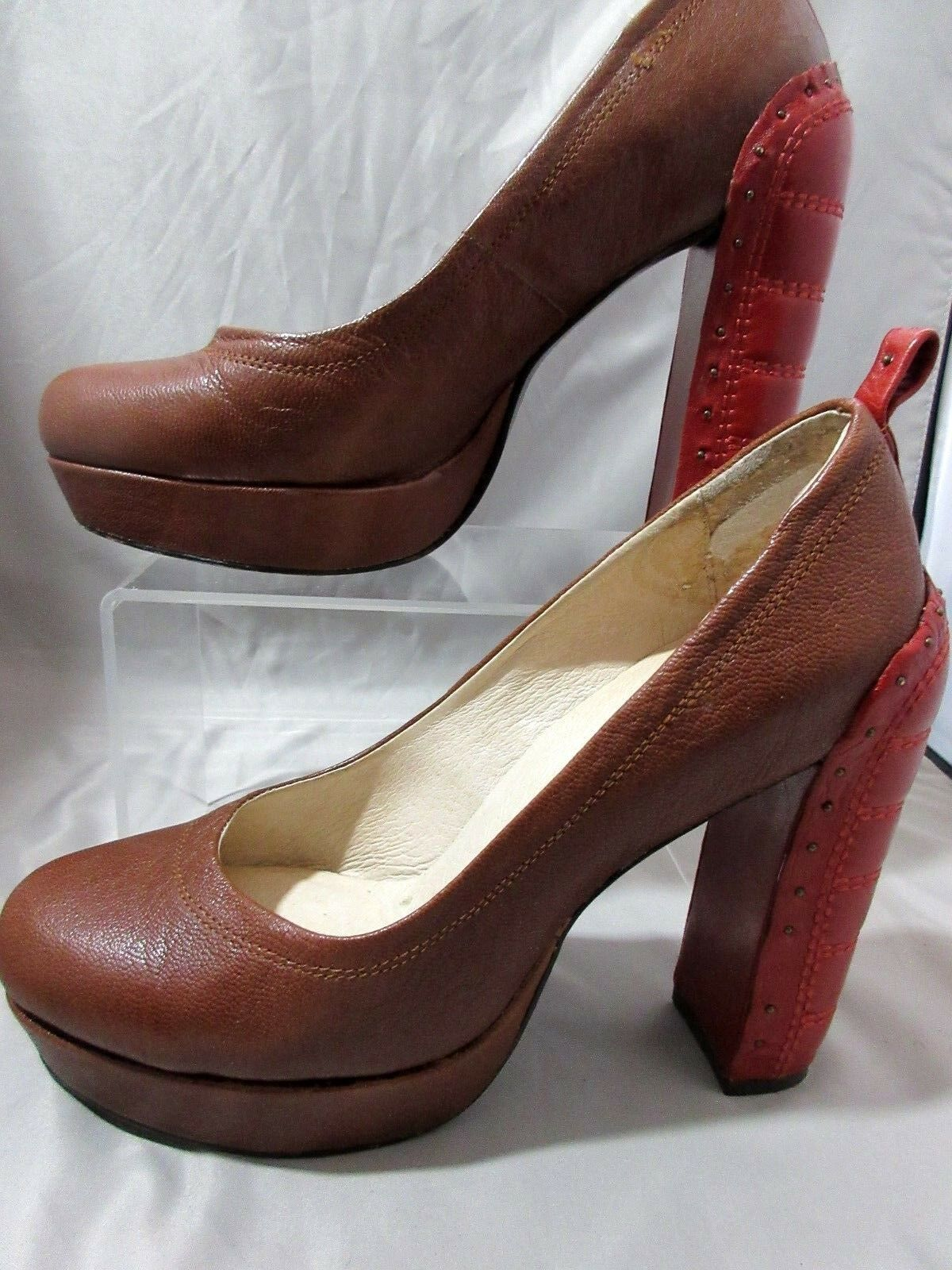 Faryl Robin Women's Platform shoes Brown Red Leather Sole Embossed Heels 6.5
