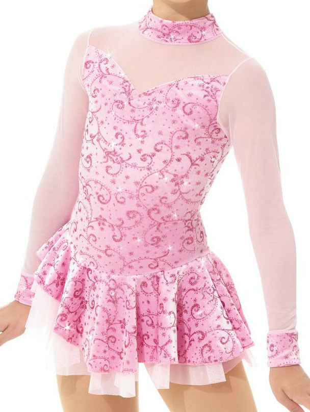 Mondor 2768 Ice Figure Skating Competition Dress Pink Baton Twirl Dance Adult Sm