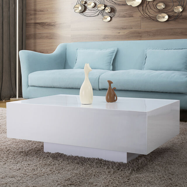 115cm High Gloss White Coffee Table Rectangle Solid Base Living Room Furniture