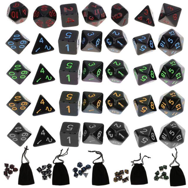 35Pcs Polyhedral Dice Set for Dungeons Dragons D20 D12 D10 D8 D6 D4 Games + Bag