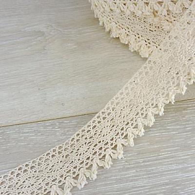 1m White Buddly Crafts 30mm Eyelet Cotton Crochet Lace