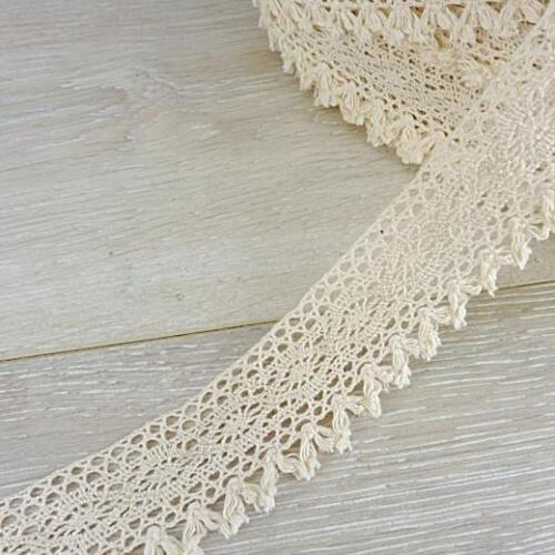 Buddly artesanía 38mm Algodón Encaje De Crochet Con Borlas 1m Natural #ccl 2
