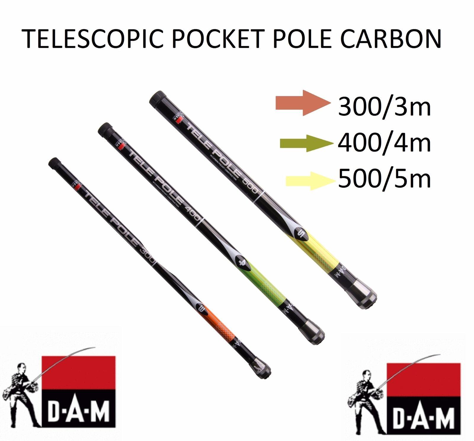 Dam Kohlenstoff Tele Tasche Pfosten Teleskopisch Reise Rute 3m - 4m - 5 M