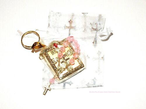 Bible w/Jewel -Pink Rosary+Cross Bag Communion 18 Doll Clothes American Girl R