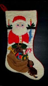 VINTAGE-CHRISTMAS-SANTA-CLAUS-NEEDLEPOINT-STOCKING-SOCK-TOY-WORKSHOP