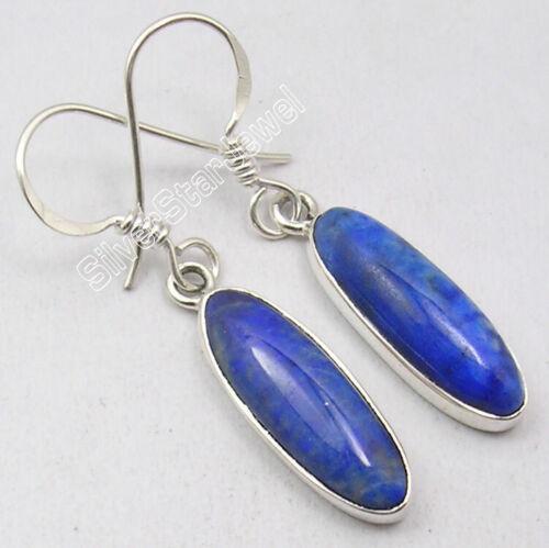 925 Stamp Sterling Silver Lapis Lazuli Dangle Earrings Stone Jewelry